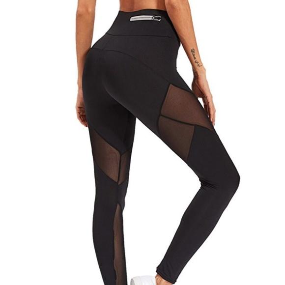 20342abd36 SweatyRocks Pants   Skinny Sheer Mesh Insert Leggings Yoga   Poshmark